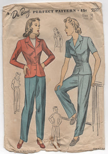 "1940's DuBarry High Waisted Pants and Jacket Pattern - Bust 32"" - No. 5527"