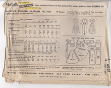 "1950's McCall's One Piece Dress with Notch and Bow Detail and Two Skirts - Bust 34"" - #4561"