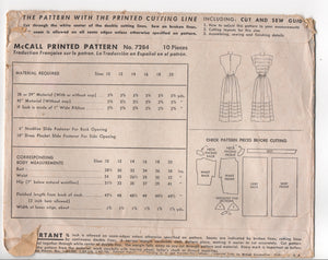 "1940's McCall One Piece Dress with Tucked Bodice and Skirt - Bust 32"" - No. 7284"