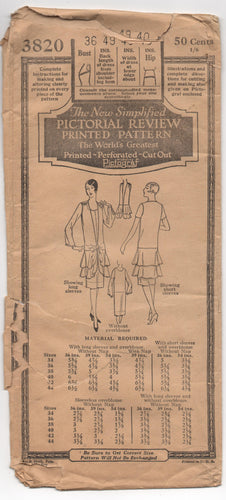 1920's Pictorial Review One-Piece Dress and Flapper Overblouse pattern - Bust 36