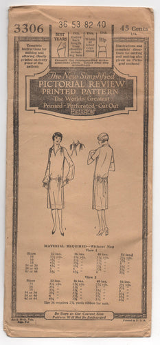 1920's Pictorial Review One-Piece Dress with two Sleeve lengths and shirred shoulder pattern - Bust 36