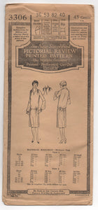 "1920's Pictorial Review One-Piece Dress with two Sleeve lengths and shirred shoulder pattern - Bust 36"" - UC/FF - No. 3306"
