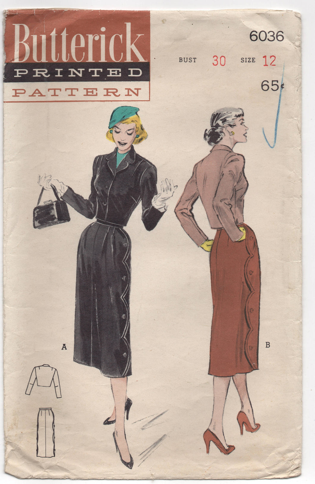 1950's Butterick Jacketed Suit with Scalloped Skirt Pattern - Bust 30
