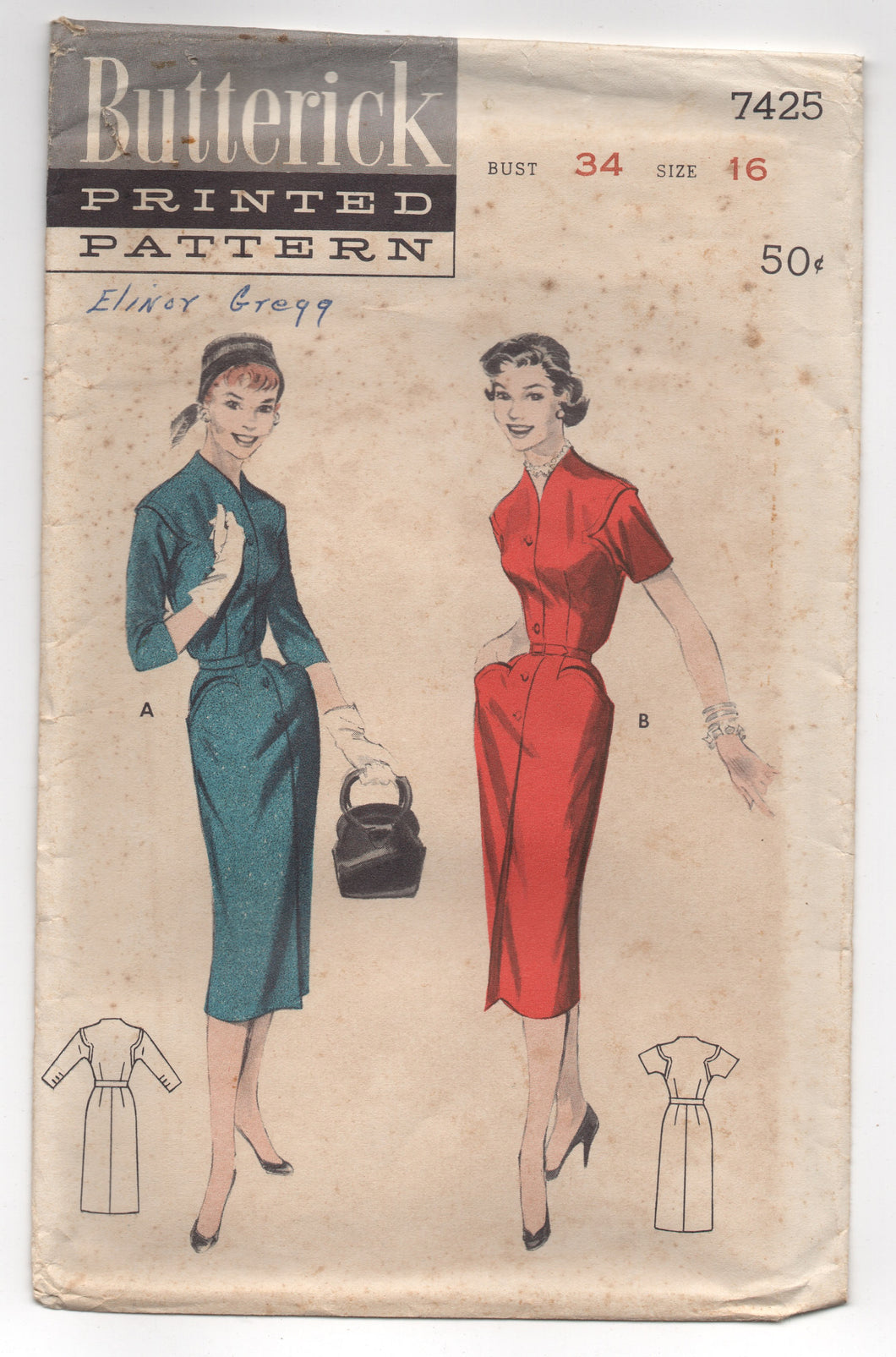 1950's Butterick One Piece Wiggle Dress with Distinct Curved Pockets and Armseye- Bust 34