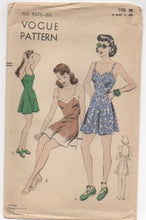"1950's Vogue One-Piece Swimsuit with Skirt - Bust 38"" - UC/FF - No. 9375"