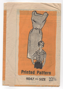 "1950's Marian Martin One Piece Wiggle Dress with Square Neckline  and Cropped Bolero Pattern - Bust 43"" - No. 9047"