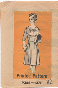 "1960's Mail Order One Piece Day Dress with Bracelet sleeves and round neckline  Pattern - Bust 44"" - No. 9385"