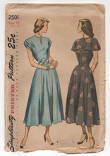 "1940's Simplicity One Piece Dress with Gathered Sleeves, Belt and Cape Pattern - Bust 32"" - UC/FF - No. 2501"