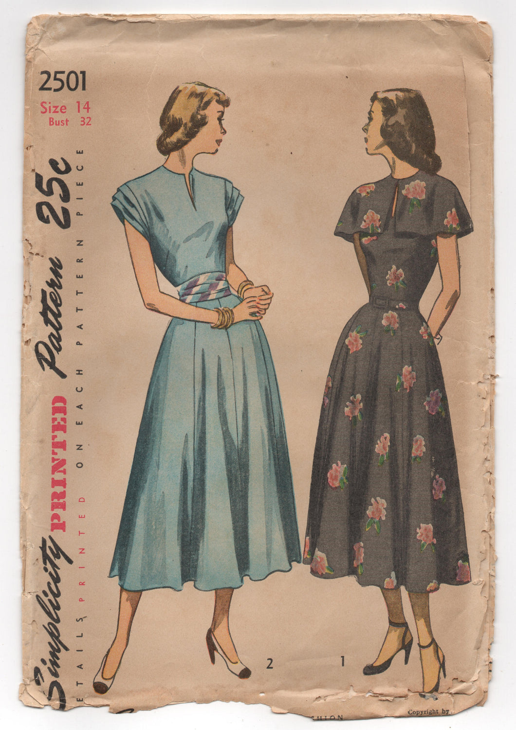 1940's Simplicity One Piece Dress with Gathered Sleeves, Belt and Cape Pattern - Bust 32