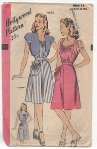 "1940's Hollywood Summer Dress with gathered neckline, one large pocket and Bolero Pattern - Bust 30"" - No. 1623"
