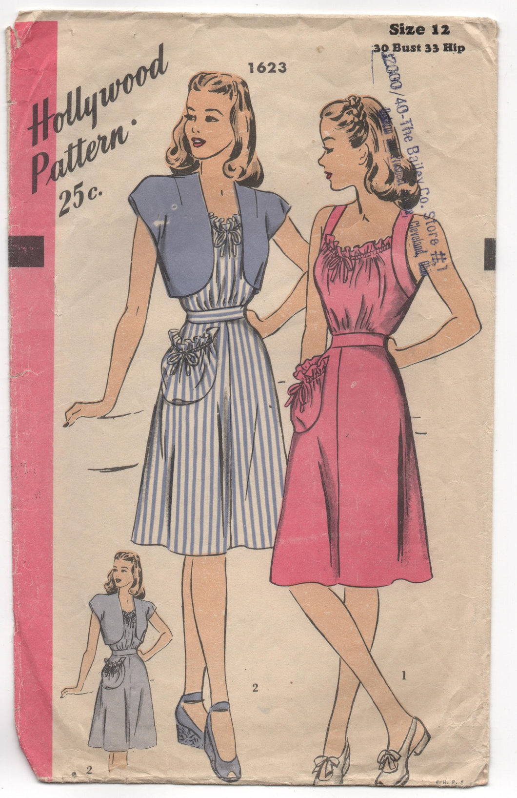 1940's Hollywood Summer Dress with gathered neckline, one large pocket and Bolero Pattern - Bust 30