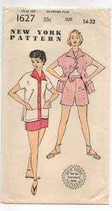 "1950's New York Jacket and Shorts with Tab Accents Pattern - Bust 32"" - UC/FF - No. 1627"