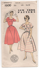 "1950's One-Piece Dress with Square neckline and Bow detail on sleeves Pattern - Bust 32"" - No. 1600"