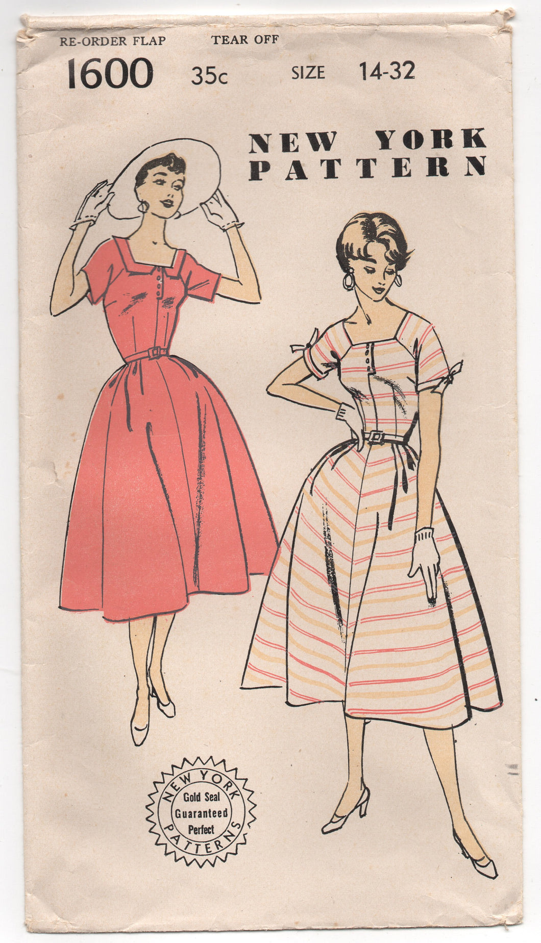 1950's One-Piece Dress with Square neckline and Bow detail on sleeves Pattern - Bust 32