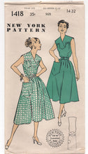 "1950's New York One-Piece Dress with Cross over yoke and Pocket Pattern - Bust 32"" - No. 1418"