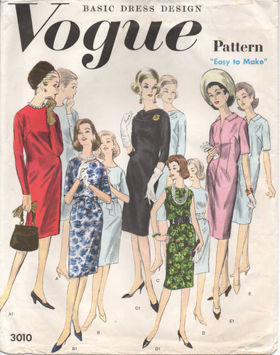 1960's Vogue Basic Design Sheath Dress with 3 Sleeve lengths - Bust 40