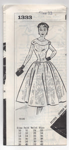 "Early 1960's Grit One Piece Cocktail Dress pattern with Scoop Neck - Bust 31"" - UC/FF - No. 1333"