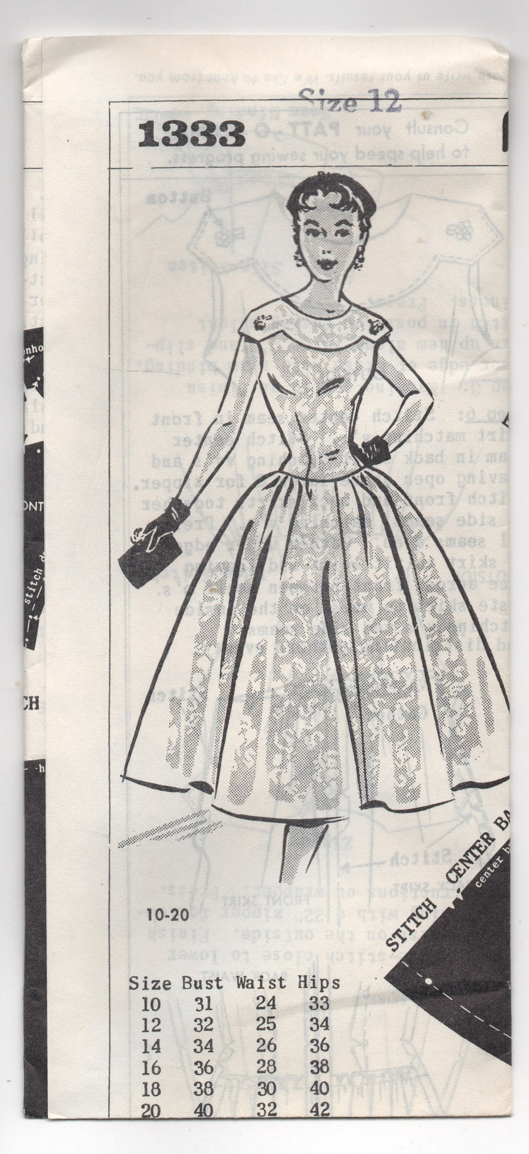 Early 1960's Grit One Piece Cocktail Dress pattern with Scoop Neck - Bust 31