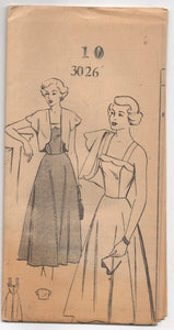 "1950's Mail Order One Piece Summer Dress with Scallop Detail and Bolero - Bust 28"" - UC/FF - No. 3026"