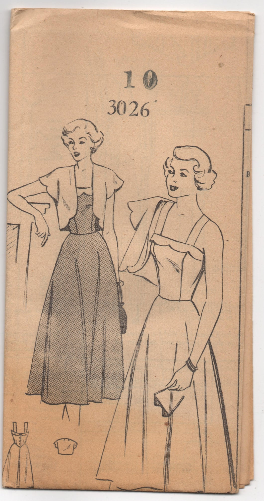 1950's Mail Order One Piece Summer Dress with Scallop Detail and Bolero - Bust 28