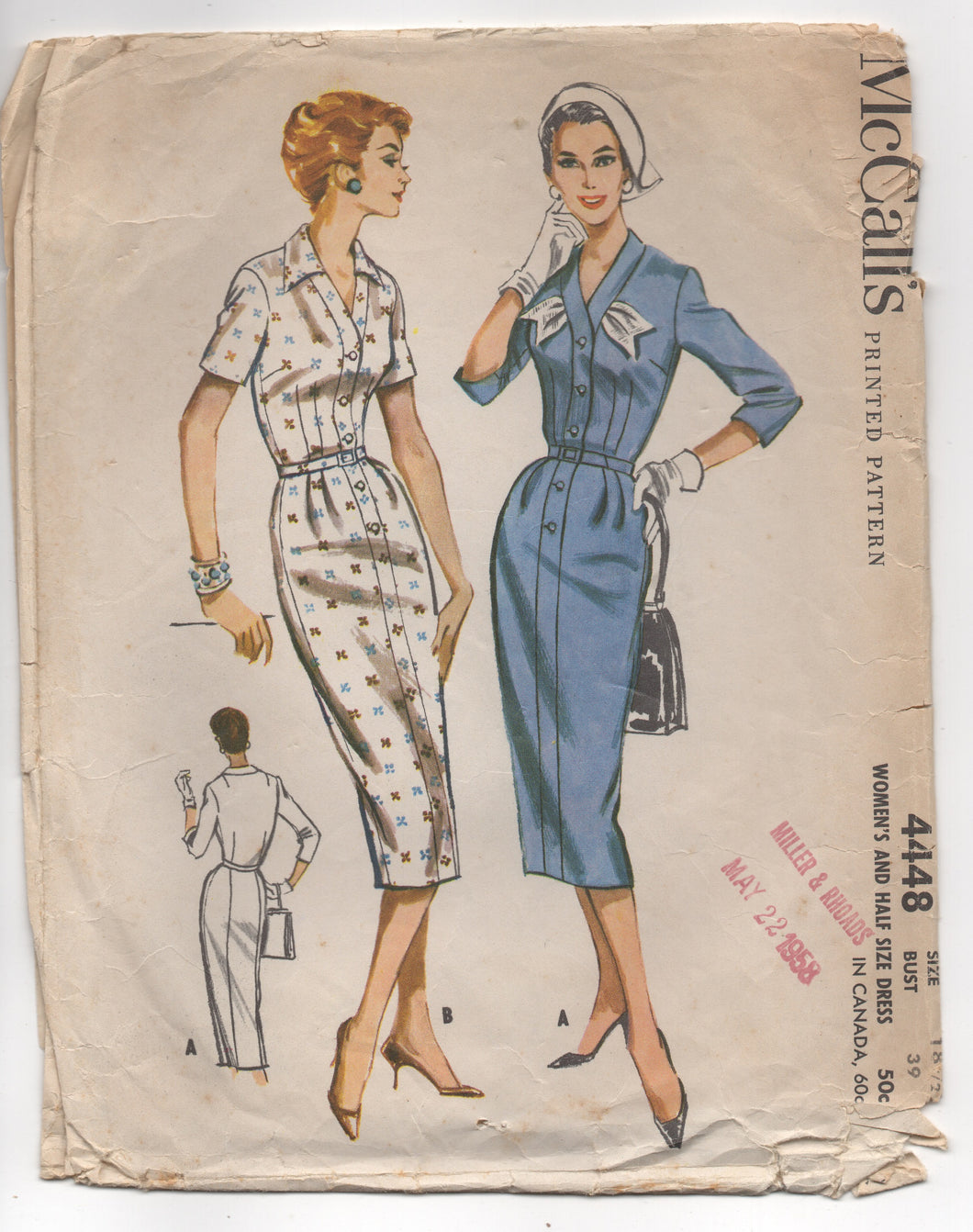 1950's McCall's One Piece Slim Dress with Detail at Collar - Bust 39