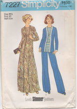 "1970's Simplicity Maxi Dress, Tunic and Wide Leg Pants - Bust 43"" - UC/FF - No. 7227"