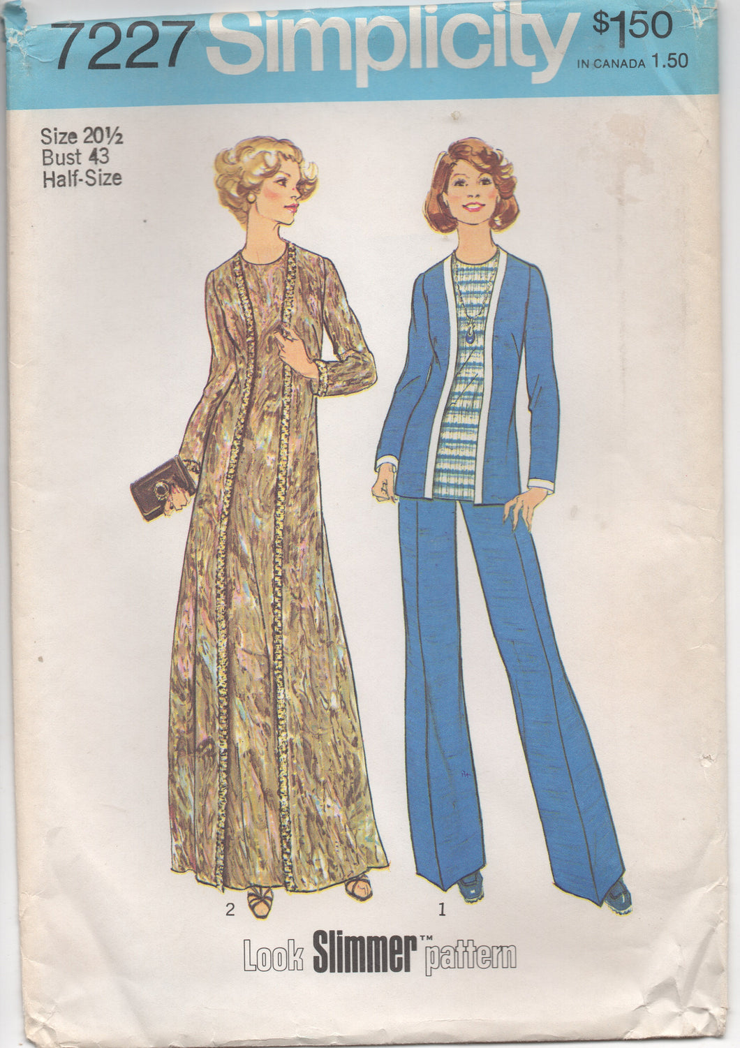 1970's Simplicity Maxi Dress, Tunic and Wide Leg Pants - Bust 43