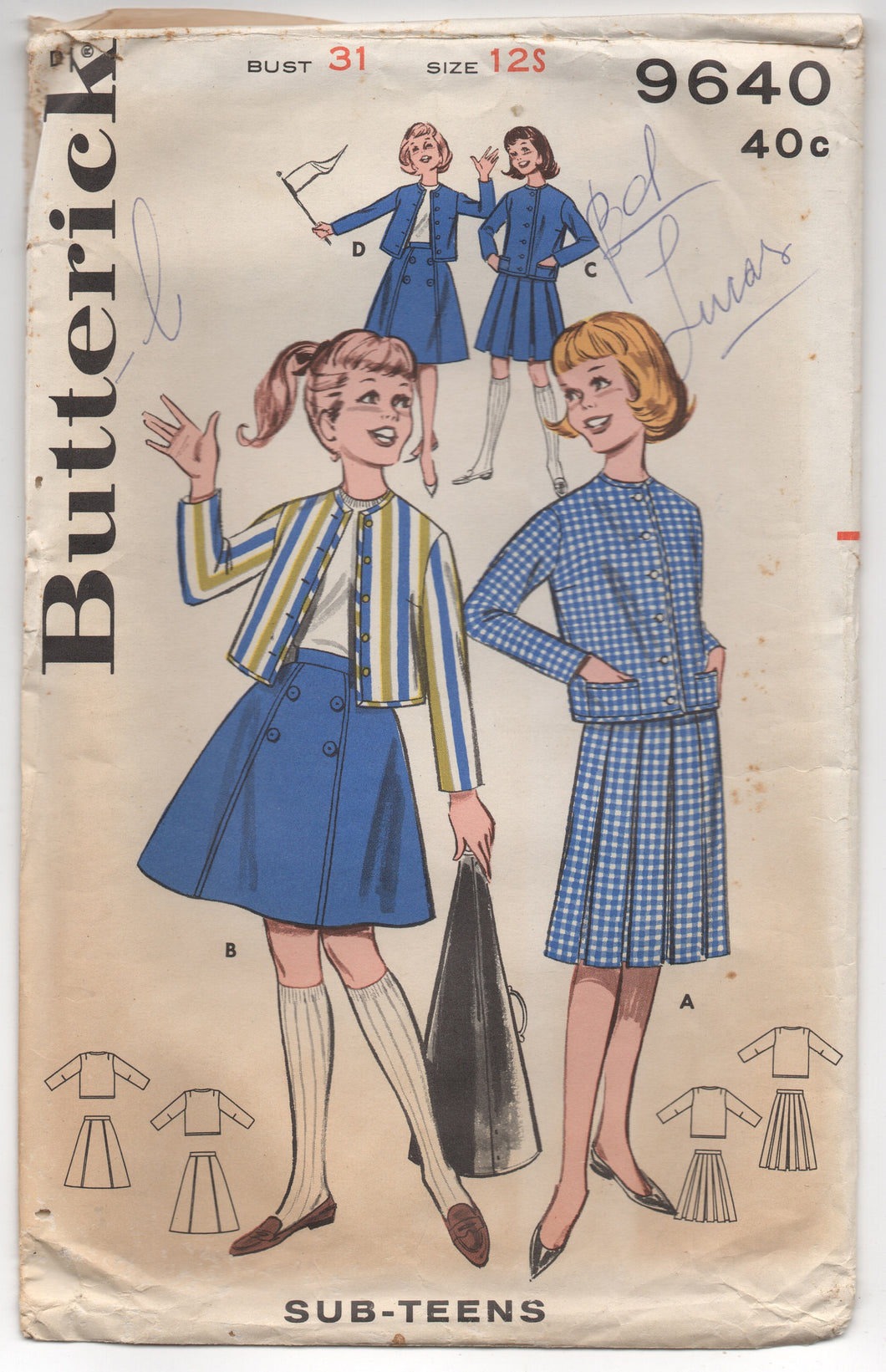 1960's Butterick Jacket and Pleated or Six Gore Skirt Coordinates - Bust 31