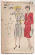"1940's Vogue Two Piece Suit Dress with Detailed Jacket Pattern - Bust 36"" - No. 9396"