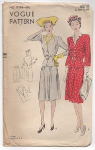 "1950's Vogue Two Piece Suit Dress with Detailed Jacket Pattern - Bust 36"" - No. 9396"