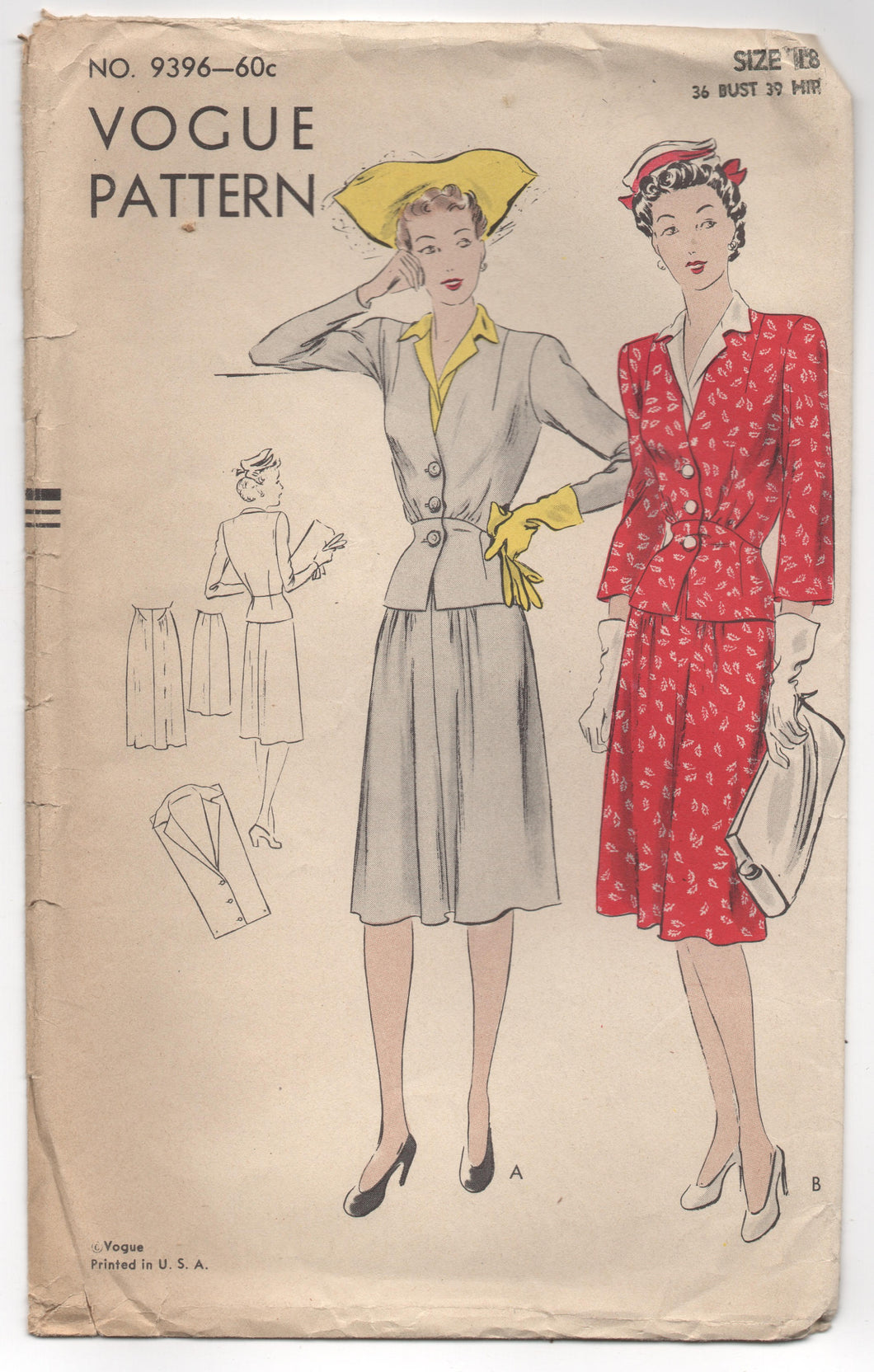 1940's Vogue Two Piece Suit Dress with Detailed Jacket Pattern - Bust 36