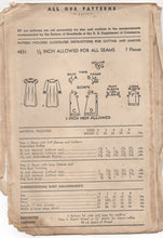 "1940's Advance Girl's Nightgown in two sleeve lengths - Breast 23"" - UC/FF - No. 4831"