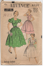 "1950's Advance One Piece Dress with Puff or Cap Sleeves - Bust 32"" - No. 6134"