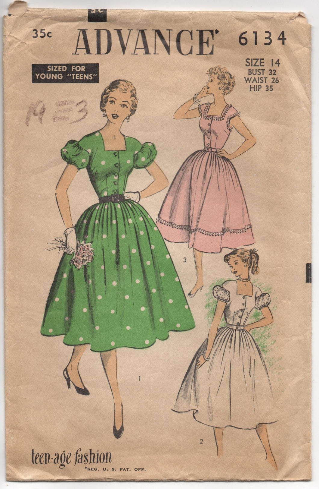 1950's Advance One Piece Dress with Puff or Cap Sleeves - Bust 32