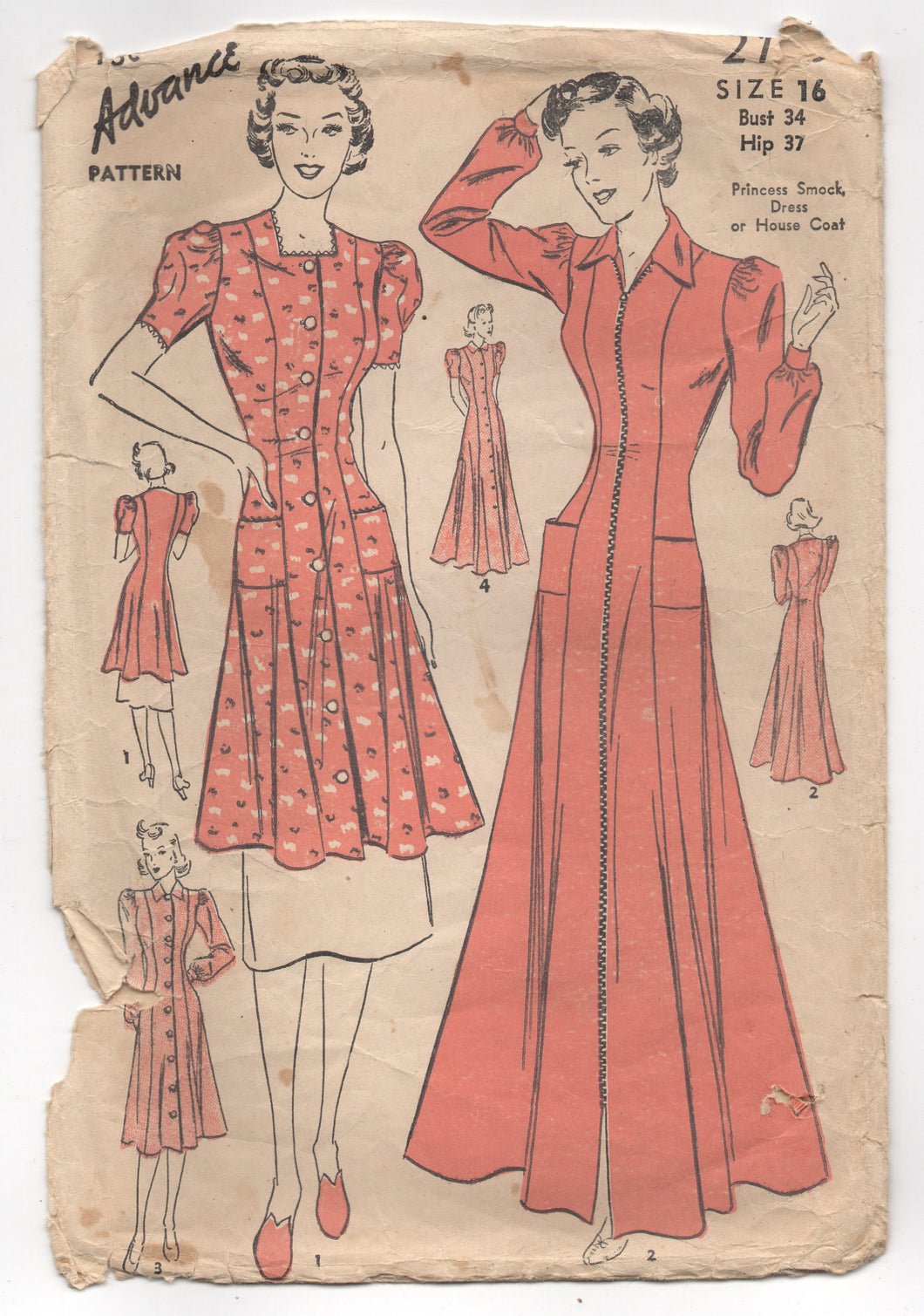 1940's Advance Princess cut One Piece Dress, Smock or House Coat Pattern - Bust 34