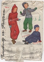 1940's Simplicity Snow Suit, Cap and Transfer Pattern - 6 years  - No. 4755