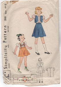 1930's Simplicity Girl's Suspender Skirt, Blouse and Bolero Pattern - 10 years - No. 2848