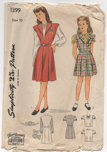1940's Simplicity Girl's One-Piece Jumper and Blouse Pattern - 10 years - No. 1399