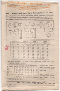 "1940's Butterick Softly Tailored Button Up Blouse with Two Collar options - Bust 32"" - No. 4617"