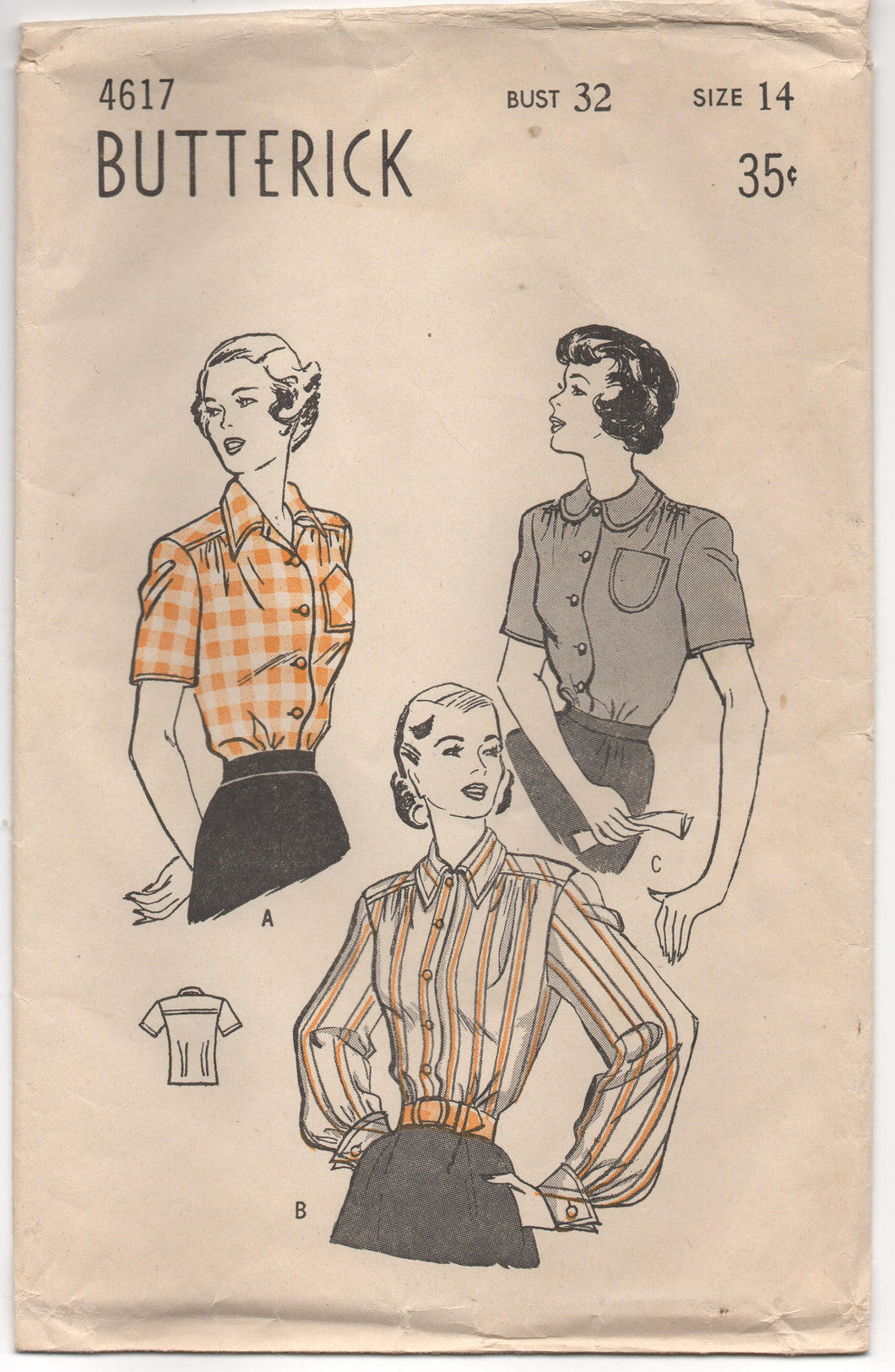1940's Butterick Softly Tailored Button Up Blouse with Two Collar options - Bust 32