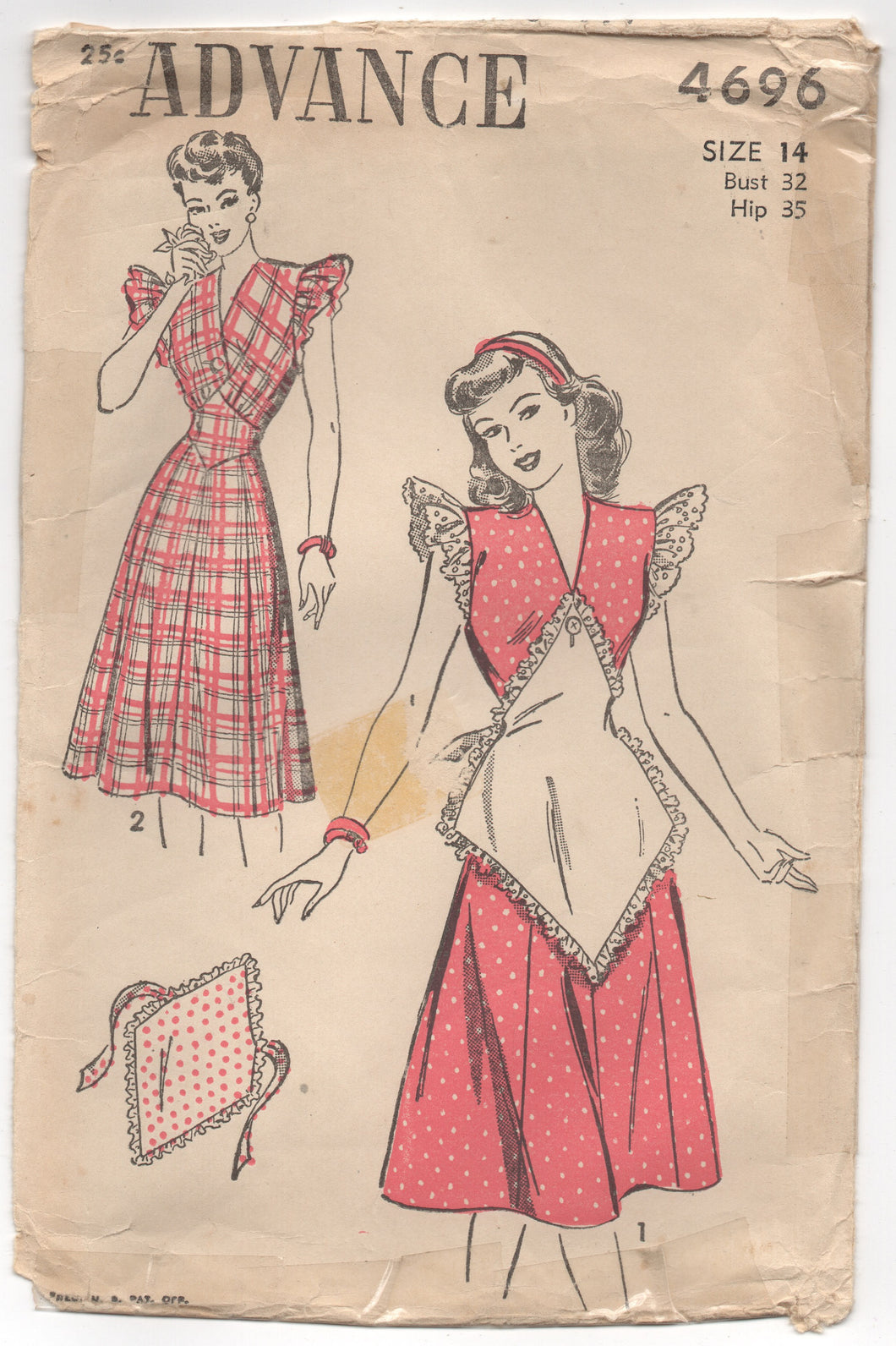 1940's Advance One Piece Dress with Deep V Neck and Button on Apron Pattern - Bust 33