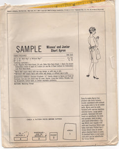 1960's McCall Half Apron with Two Pockets Pattern - One Size - UC/FF - SAMPLE