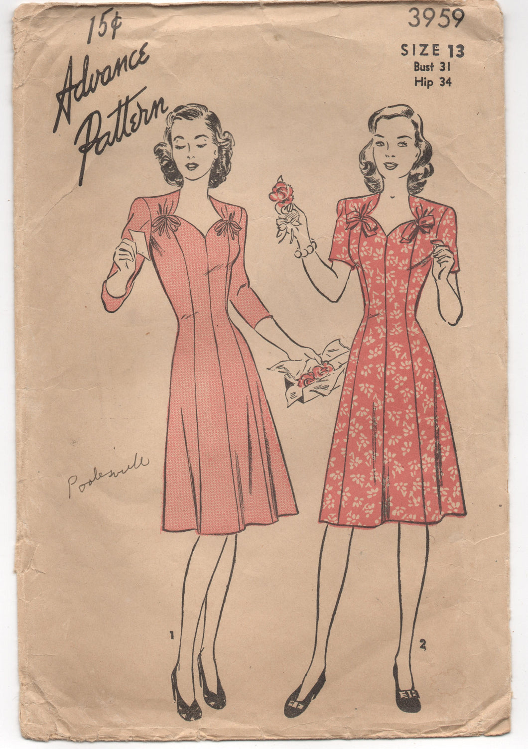 1940's Advance Princess cut One Piece Dress with Ties at Neckline Pattern - Bust 31