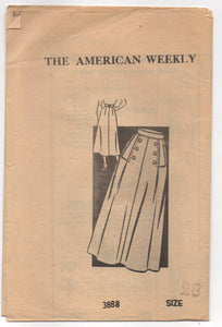 "1950's American Weekly A- Line Skirt with detailed Front Pattern - Waist 28"" - No. 3888"