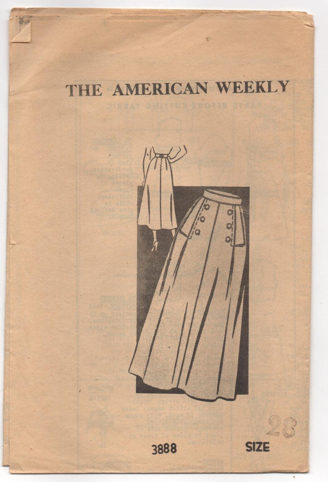 1950's American Weekly A- Line Skirt with detailed Front Pattern - Waist 28