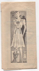 "1940's Marian Martin Day Dress with Pockets and A-Line Skirt pattern - Bust 34"" - UC/FF - No. 9395"