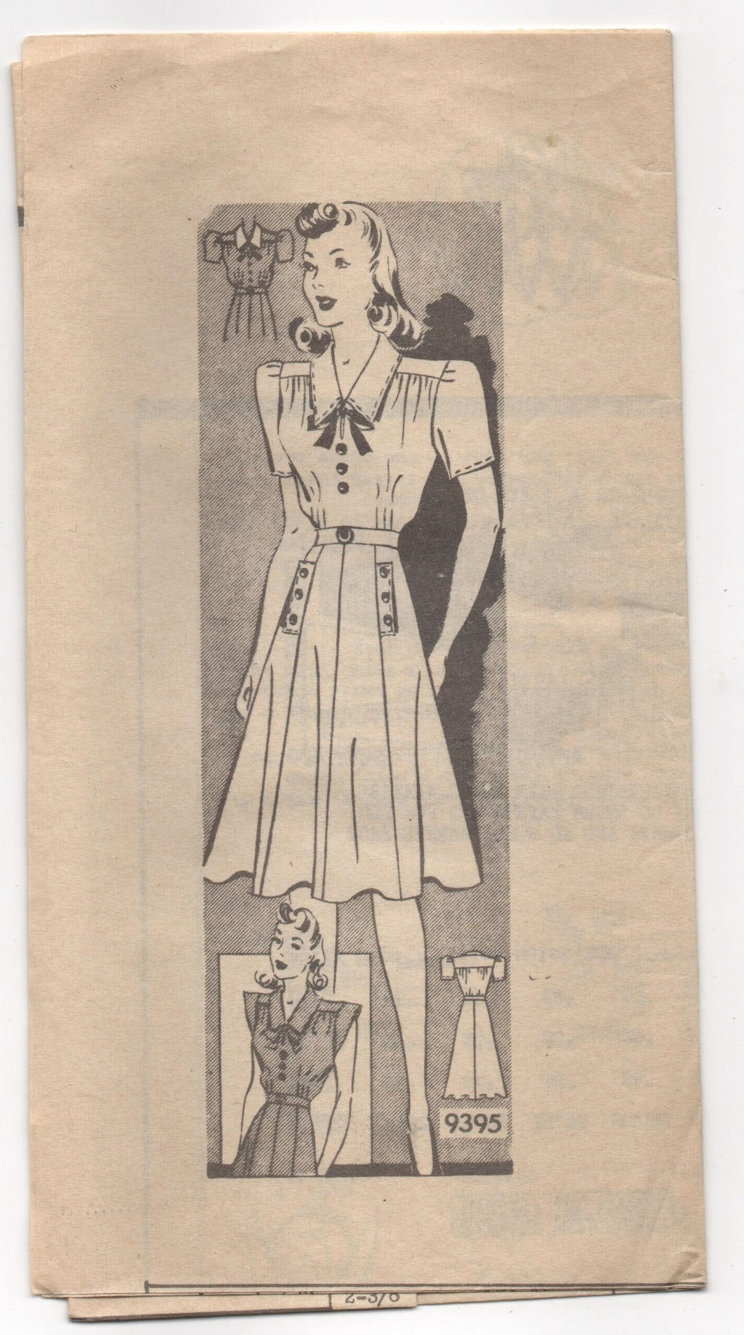 1940's Marian Martin Day Dress with Pockets and A-Line Skirt pattern - Bust 34