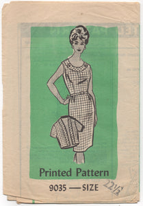 "1940's Marian Martin Day Dress with Circular Collar and Bolero pattern - Bust 43"" - No. 9035"