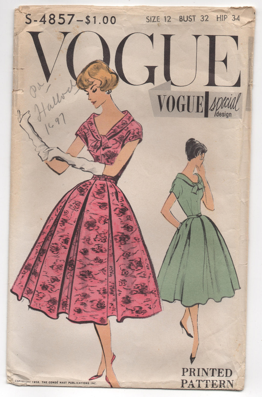 1950's Vogue Special Design One Piece Dress with Wide Neck and Collar with Wrap and Full Pleated Skirt Pattern - Bust 32