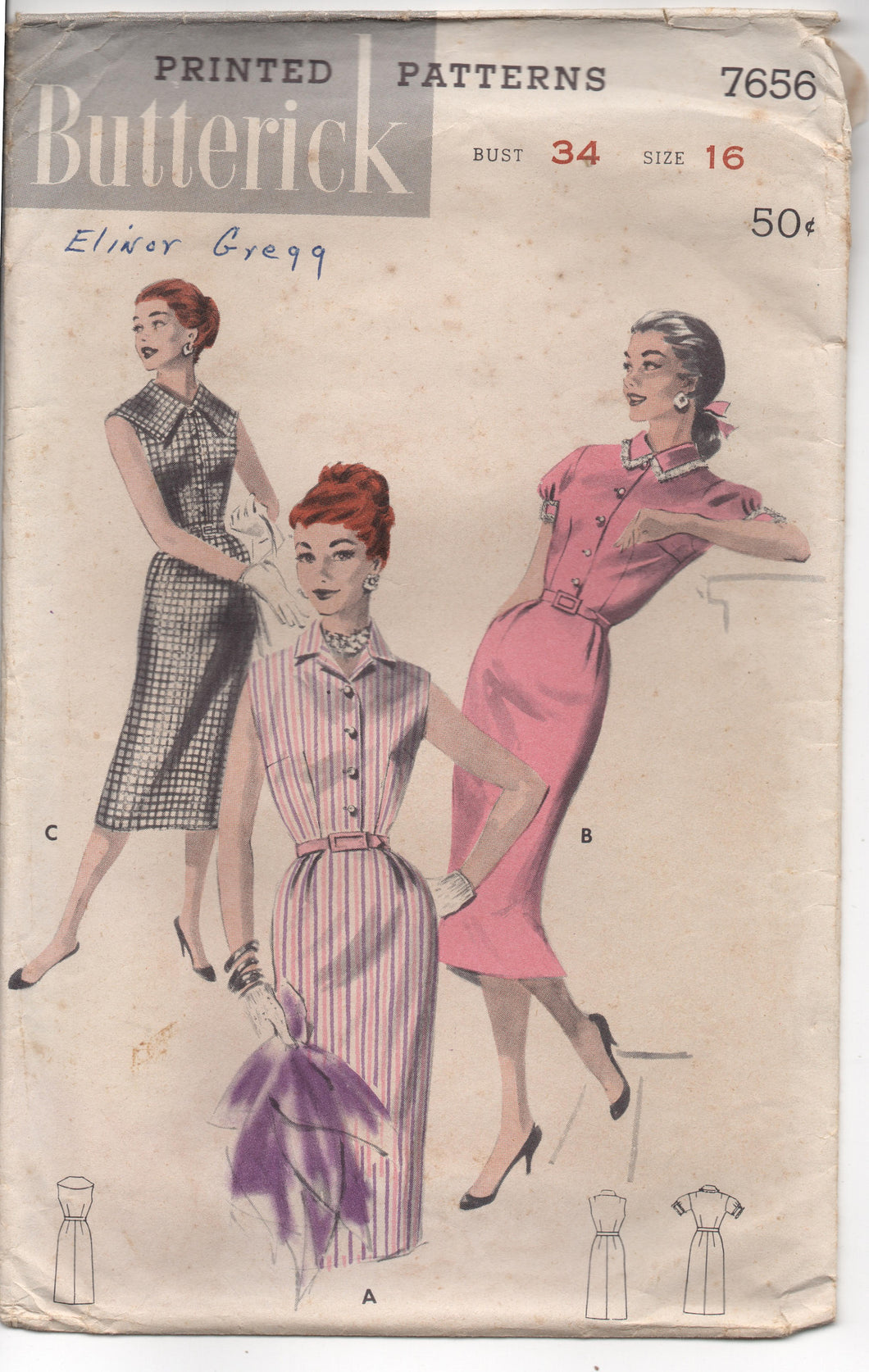 1950's Butterick Shirtwaist Slim Dress with or without sleeves Pattern - Bust 34